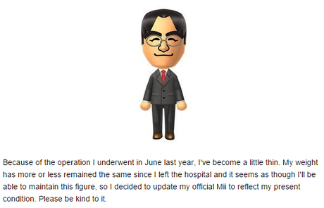 A note on how his Mii reflected the weight he lost while battling the bile duct tumor that eventually took him